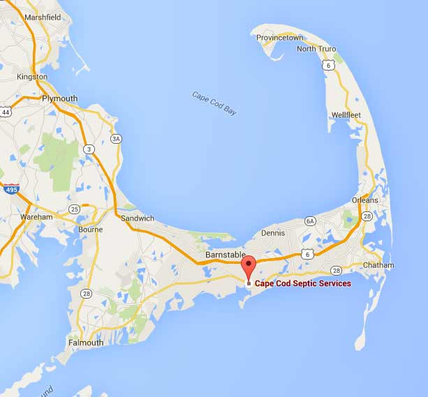 A map of Cape Cod showing that we service every town on Cape Cod